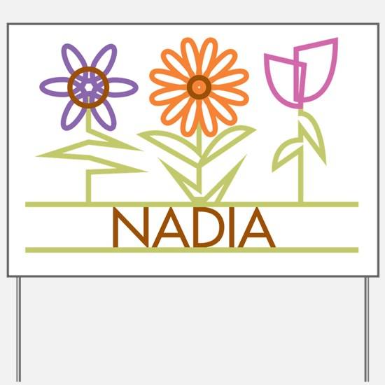 Nadia with cute flowers Yard Sign