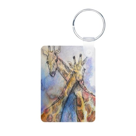 Giraffes, nature, art, Aluminum Photo Keychain