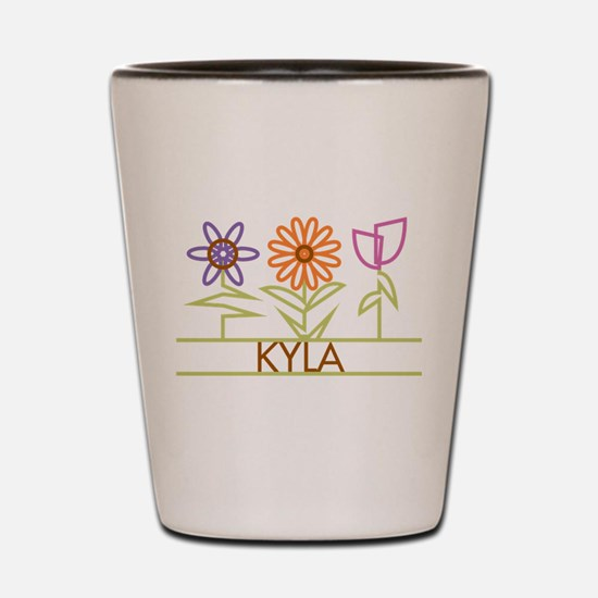 Kyla with cute flowers Shot Glass