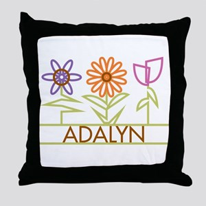 Adalyn with cute flowers Throw Pillow