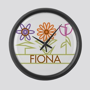 Fiona with cute flowers Large Wall Clock