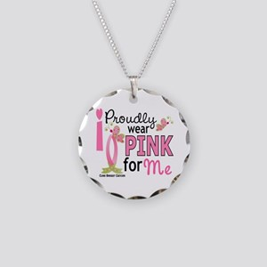 I Wear Pink 27 Breast Cancer Necklace Circle Charm