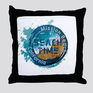 California - Mission Beach Throw Pillow