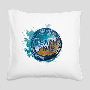 California - Mission Beach Square Canvas Pillow