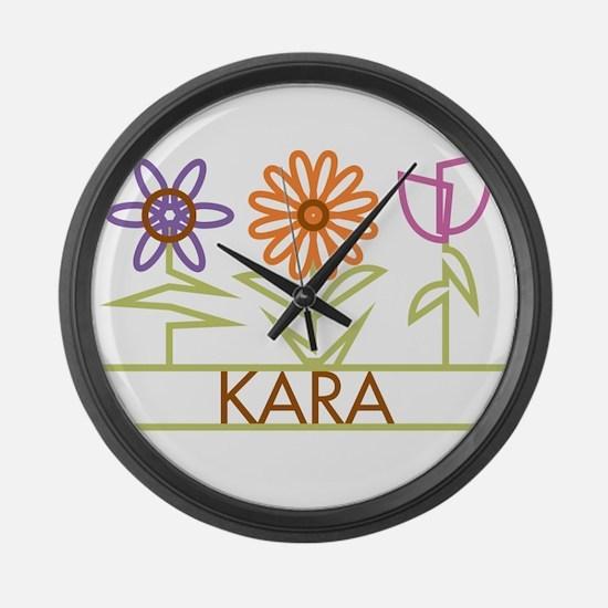 Kara with cute flowers Large Wall Clock