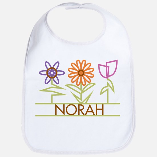Norah with cute flowers Bib