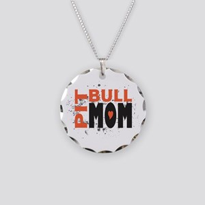 Pit Bull Mom Necklace Circle Charm