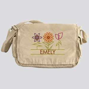 Emely with cute flowers Messenger Bag