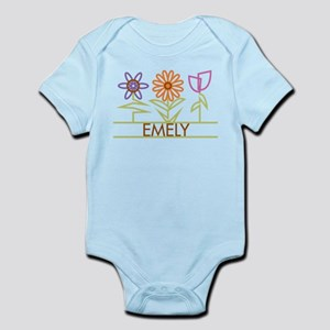 Emely with cute flowers Infant Bodysuit
