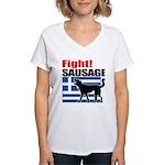 Fight! SAUSAGE Women's V-Neck T-Shirt