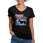 Fight! SAUSAGE Women's V-Neck Dark T-Shirt