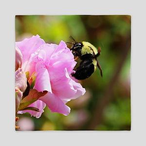 Bee on pink flower Queen Duvet