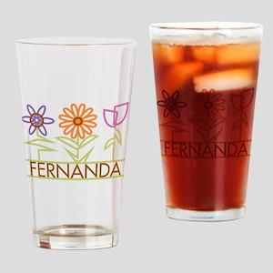 Fernanda with cute flowers Drinking Glass