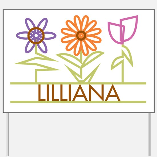 Lilliana with cute flowers Yard Sign
