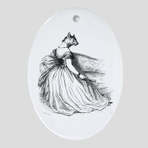 Mademoiselle Wolf Ornament (Oval)