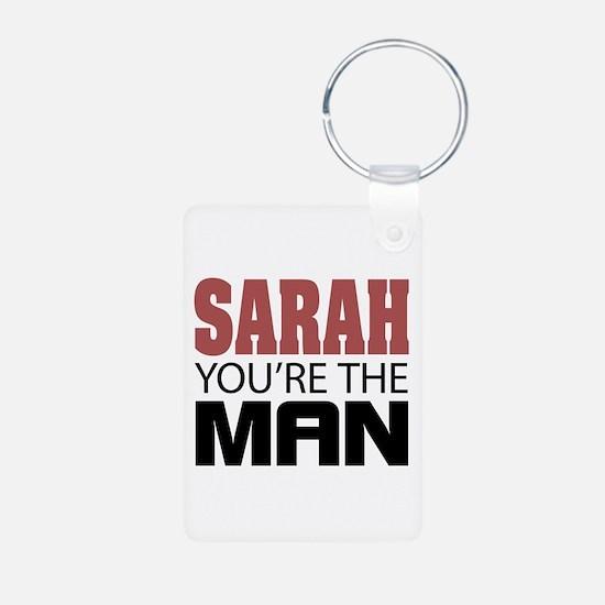 SARAH You're The MAN Aluminum Photo Keychain