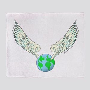 Flying Earth Throw Blanket