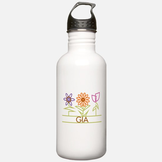 Gia with cute flowers Water Bottle