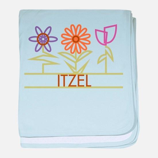Itzel with cute flowers baby blanket