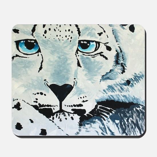 Snow Leopard Face Mousepad