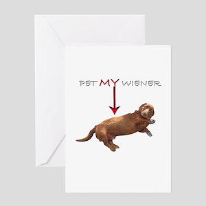 Pet My Wiener Greeting Card