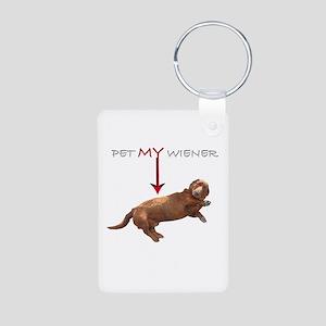 Pet My Wiener Aluminum Photo Keychain