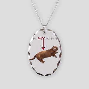 Pet My Wiener Necklace Oval Charm