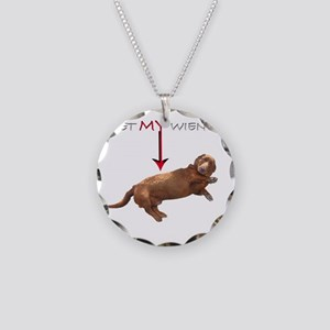 Pet My Wiener Necklace Circle Charm