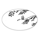 Owl in tree branches - wind Sticker (Oval 10 pk)