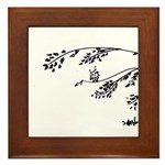 Owl in tree branches - wind Framed Tile