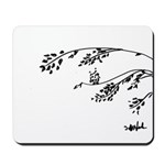 Owl in tree branches - wind Mousepad