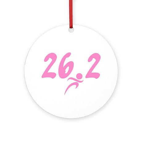 Pink 26.2 Marathon Ornament (Round)