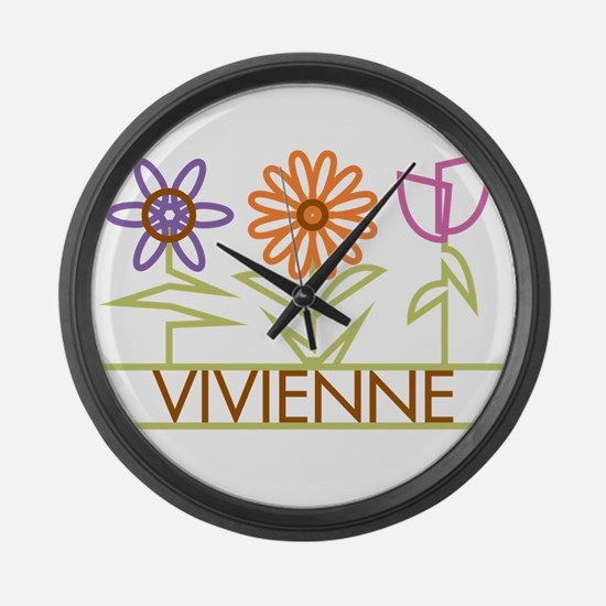 Vivienne with cute flowers Large Wall Clock