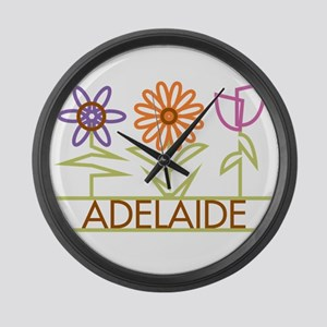 Adelaide with cute flowers Large Wall Clock