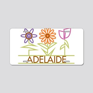 Adelaide with cute flowers Aluminum License Plate