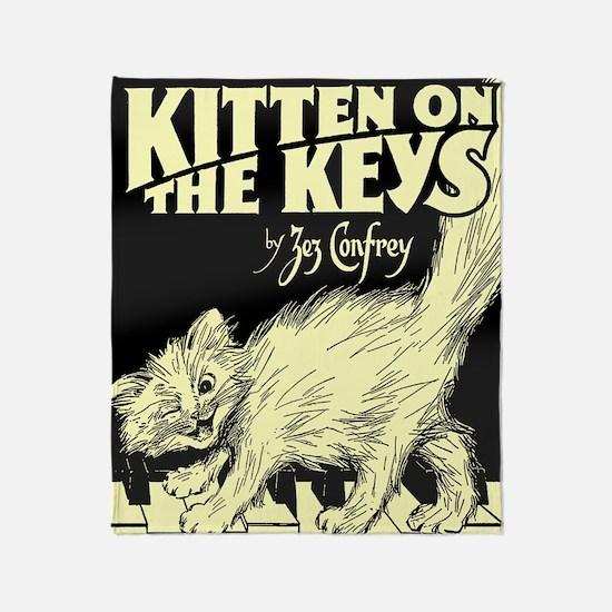 Kitten on the Keys Throw Blanket