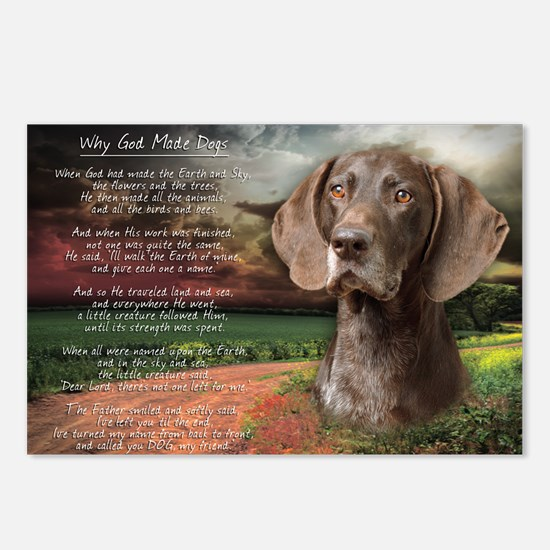 """""""Why God Made Dogs"""" GSP Postcards (Package of 8)"""