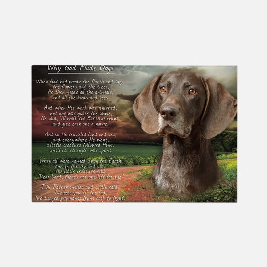 """""""Why God Made Dogs"""" GSP Rectangle Magnet (100 pack"""