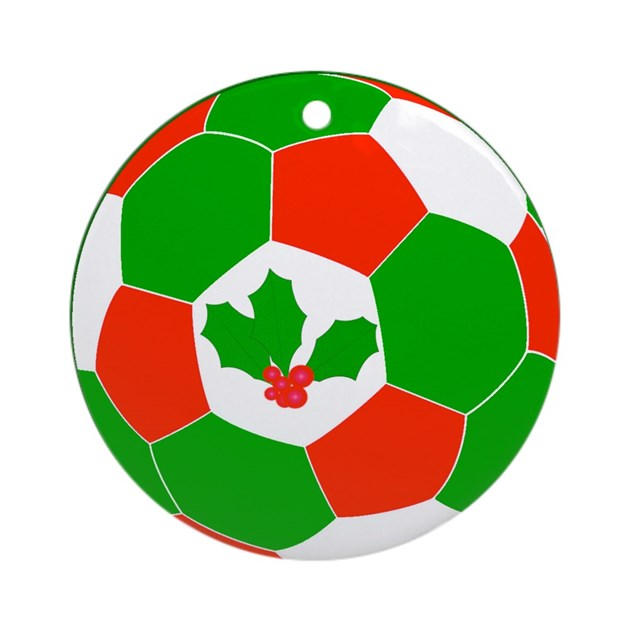 Christmas Soccer Ball Ornament (Round) by TrevorsStore
