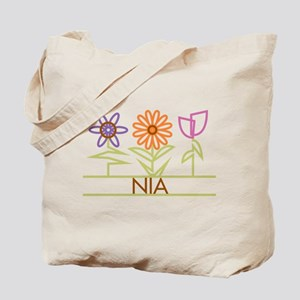 Nia with cute flowers Tote Bag