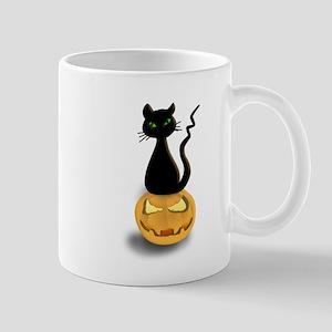 Black Cat & Pumpkin Halloween Mug