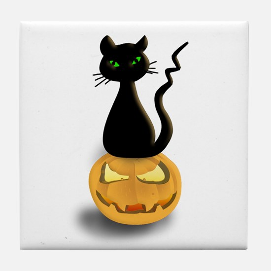 Black Cat & Pumpkin Halloween Tile Coaster
