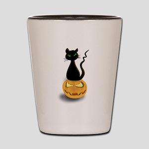 Black Cat & Pumpkin Halloween Shot Glass