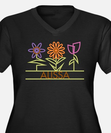 Alissa with cute flowers Women's Plus Size V-Neck