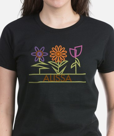 Alissa with cute flowers Women's Dark T-Shirt