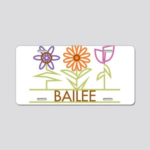 Bailee with cute flowers Aluminum License Plate