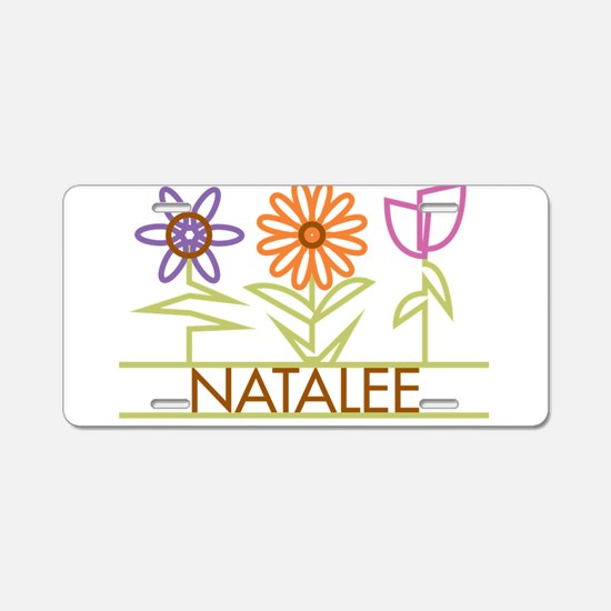 Natalee with cute flowers Aluminum License Plate