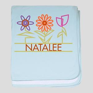 Natalee with cute flowers baby blanket