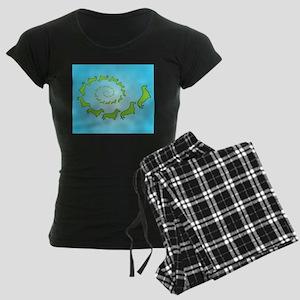 Dachshund Spiral Women's Dark Pajamas