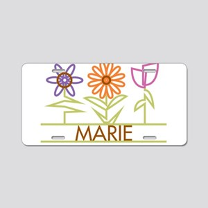 Marie with cute flowers Aluminum License Plate
